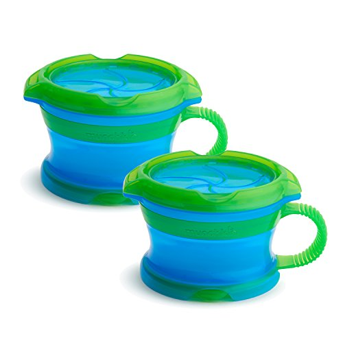 Munchkin Deluxe Snack Catcher with Lid, 9 Ounce, 2 Pack, Blue/Green