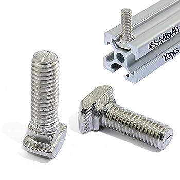 Boeray Metric M8 x 40mm Thread T Slot Drop-in Bolt T-Bolt Hammer Head Bolt T Screw Stud for 4545 Series Standard 10mm T-Slot Aluminum Extrusion Profile Pack of 20