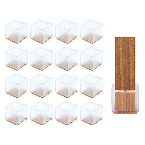 Silicone Chair Leg Floor Protectors, Square Furniture Silicon Protection Cover, Chair Leg Caps with Felt-Padded Backing for Chair Table Legs and Prevent Damage to Floors Transparent Clear (16 PCS)