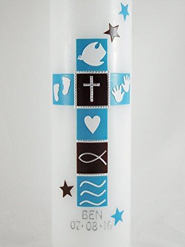 Taufkerze Kreuz, für Mädchen und Jungen, handarbeit, blau, braun, Beschriftung, mehrere Größen zur Auswahl