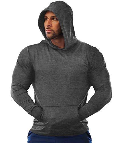 URRU Men Hoodie Sweatshirt Long Sleeve Pullover Workout Shirt with Kanga Pocket Dark Grey M