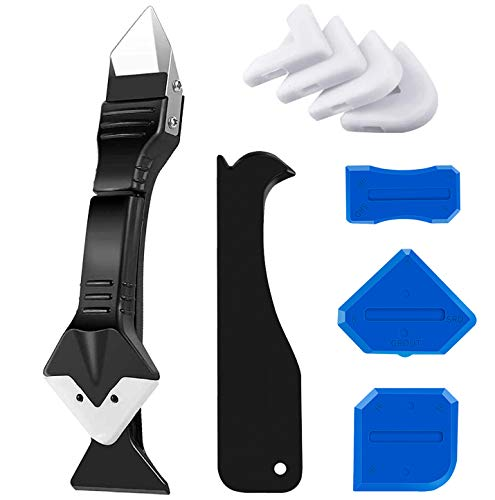 Caulking Tool, Caulk Remover& Glass Glue Angle Scraper, 3 in 1 Silicone Caulking Tool Kit - Caulk Removal Tool