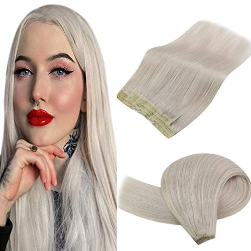 YoungSee Halo Hair Extensions Blonde Human Hair 12inch Halo Couture Hair Extensions Platinum Blonde Hair Extensions Halo Human Hair with Transparent Wire One Piece 80gram