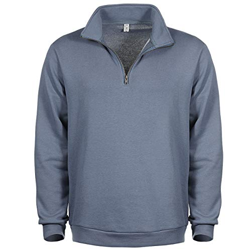 VICALLED Men's 1/4 Zip Sweatshirt Performance Stand Collar Regular Fit Quarter Zip Pullover Blue