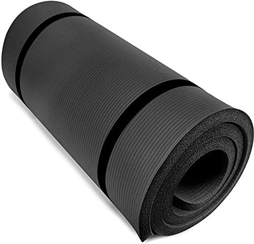 jiande Estera de Ejercicios de 0,8'Gruesa con cabestrillas de Hombro, cojín de Espuma Antideslizante de 20 mm, Resistentes a la Humedad para Pilates y resolución, Equilibrio y Apoyo, Negro