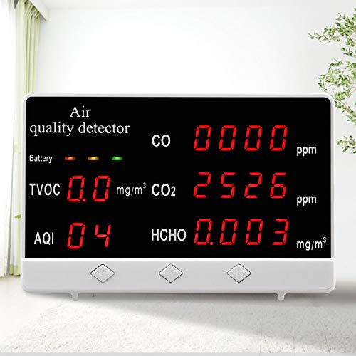 Kacsoo Luftqualität Messgerät Multifunktionaler digitaler CO CO2 HCHO Gasdetektor Luftqualität- Messgerät Formaldehyd-Detektor Multifunktionale Digitalanzeige Hochgenauer