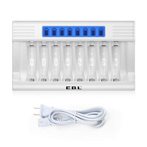 EBL 8 Bay Individual AA AAA Battery Charger with LCD Display for Ni-MH Rechargeable Batteries, Rapid Charger for AA AAA Batteries with AC Adapter