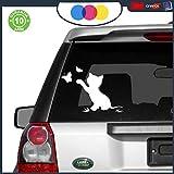 mural stickers Katzenaufkleber mit Schmetterlingen, Sticker Cat für Türen, Fenster, Möbel, Wände, Auto, Motorrad, Camper, Tuning 15 x 20 cm (Schwarz oder Weiß) 15X20 Bianco
