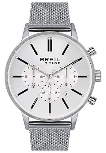BREIL - Reloj de Caballero Colección AVERY EW0493 - Reloj de Hombre con Esfera Blanca Analógica - Movimiento PE902 SUNON - Cuarzo 3H - Correa de Acero Inoxidable