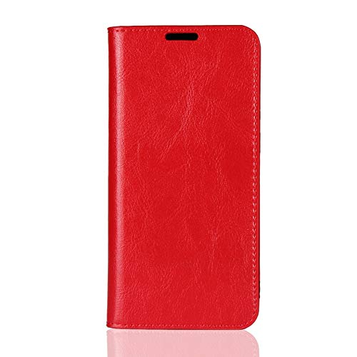 Sunrive Kompatibel mit Asus Zenfone Max Pro (M2) ZB631KL Hülle,Echt-Ledertasche Schutzhülle Standfunktion Flip Lederhülle Hülle Handyhülle Schalen Kreditkarte Handy Tasche MEHRWEG(rot)