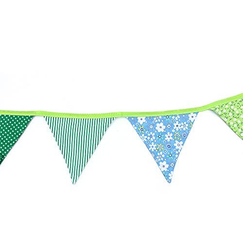 Namvo 52 Füße (15,6 m) Stoff für Blumengirlande mit 72 dreieckigen Flaggen, Dekoration Stoffgirlande für Außenbereich für Geburtstagsparty Taufe