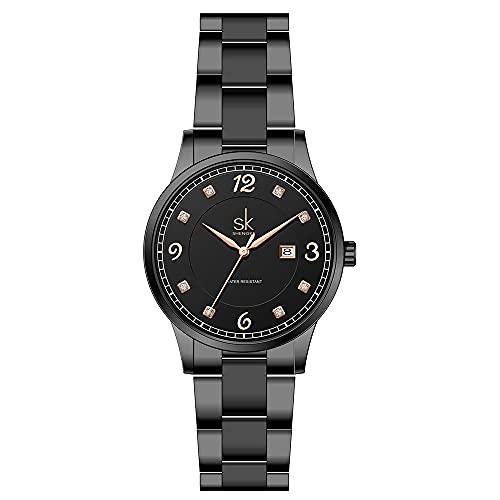 SK Relojes lassic Business para Mujer con Correa de Acero Inoxidable y Elegante Reloj con Calendario para Mujer (All Black)