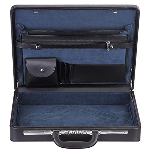 Expandable Hard Briefcases Laptop Attache for Men Business Brief Case with Lock - Black