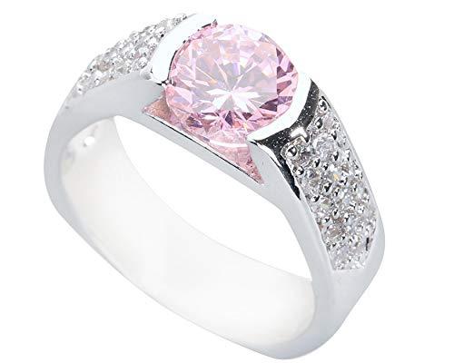 BQZB Ring Brilliant Pink Kunzit 8 * 8mm Halbedelstein Silber Cool Für Frauen Ring