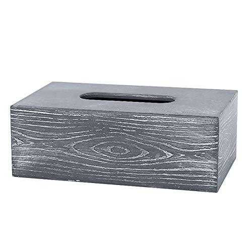 GOYOO Retro Textur Stil Taschentuchbox Holz, Rechteckig Tissue Holder Dispenserfür Home Office Badezimmer Waschtischplatten Schlafzimmer,Grau