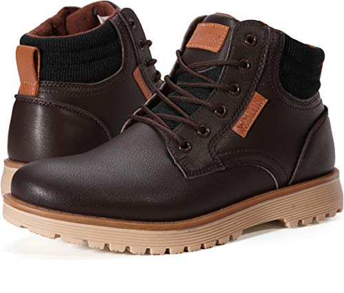 WHITIN Men's Mid Soft Toe Leather Insulated Work Boots Construction Rubber Sole Roofing Waterproof Size 12 for Outdoor Hiking Winter Snow Concrete Backpacking Mountaineering Hiker Field Brown 46