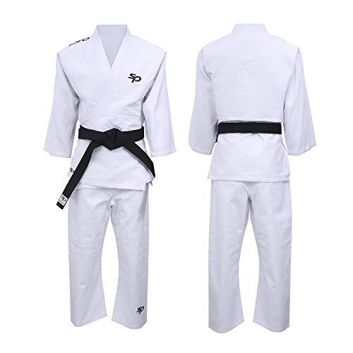 Starpro Judo Anzug Uniform Kit - Kostüm gut für MMA Kampfsport Grappling Kampf Aikido Wrestling Jiu Jitsu 350gm | 110-190 cm Weiß Blau Gi Für Männer Und Frauen| Kommt Ohne Gürtel