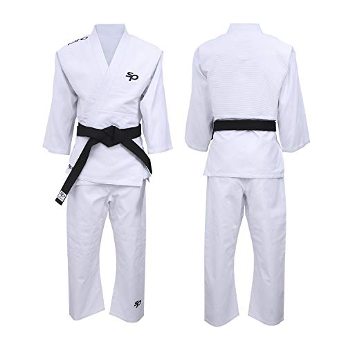 Starpro Judo Uniform Kit Anzug - Kostüm gut für Karate MMA Kampfsport Grappling Kampf BJJ Aikido Wrestling Jiu Jitsu Taekwondo 350gm| 110-190 cm Weiß Gi Für Männer Und Frauen| Kommt Ohne Gürtel