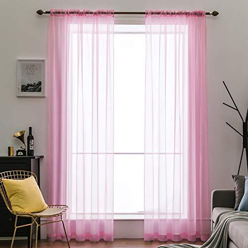 MIULEE 2er Set Voile Vorhang Transparente Gardine aus Voile Polyester Schlaufenschal Transparent Wohnzimmer Luftig Dekoschal für Schlafzimmer Rosa 140x225 cm Rod Pocket