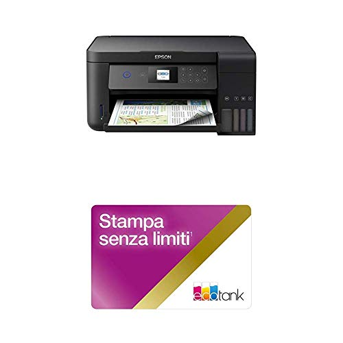 Epson EcoTank ET-2750, Stampante InkJet 3-in-1, Stampa Fronte/Retro, Copia e Scansione, Connettività Wi-Fi e App, Nero con Unlimited Printing Card