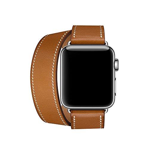 Aergood Läder Dubbel Tour Rem, Kompatibel med Apple Watch Ersättare 38mm 40mm 42mm 44mm Äkta läderband för iwatch Series 6 5 4 3 2 1 Sport & Editio (Brun, 42mm/44mm)