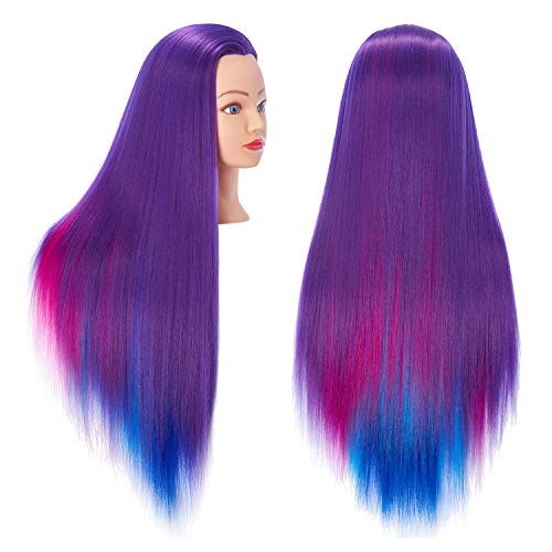 Hairingrid 26-28 Mannequin Head Hair Styling Training Head Manikin Cosmetology Doll Head Synthetic Fiber Hair and Free Clamp Holder (Colourful)