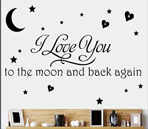 Muursticker Star Moon kinderkamer Engels spreekwoorden muursticker zwart 66 x 100 cm