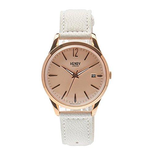 Henry London Unisex analoog kwarts horloge met lederen armband HL39-S-0112
