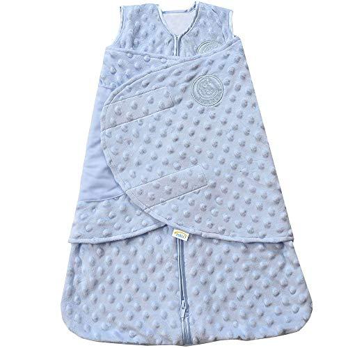HALO Sleepsack Plush Dot Velboa Swaddle, 3-Way Adjustable Wearable Blanket, Blue, Newborn, 0-3 Months