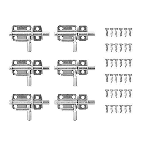 YeenGreen 6 Stück Schiebeschloss Verriegelungen, edelstahl verriegelung, Schieberiegel mit Schrauben, gartentor verriegelung edelstahl für Alle Arten Von Innentüren