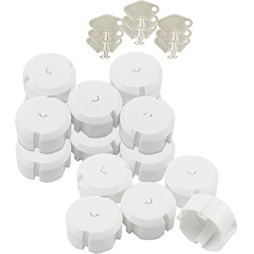 com-four® 15x Steckdosensicherung mit Metall-Schlüssel - optimaler Schutz für Babys und Kleinkinder (15 Stück)