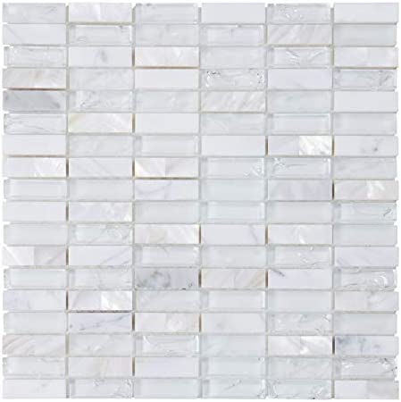Modket TDH9MDR-5 Black Gray Crackle Glass Mother of Pearl Shell Natural Stone /— 5 Pack Modern Mosaic Tile Backsplash Kitchen Bath Bathroom Shower Interior Wall
