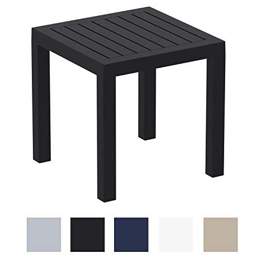 CLP Beistelltisch Ocean I Wetterfester Gartentisch aus UV-beständigem Kunststoff I witterungsbeständiger Tisch, Farbe:schwarz