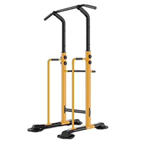 Power Tower Dip Station, dispositivo de entrenamiento de alto rendimiento, multifunción, para entrenamiento de barbilla, ajustable, torre de entrenamiento, 123, amarillo, talla