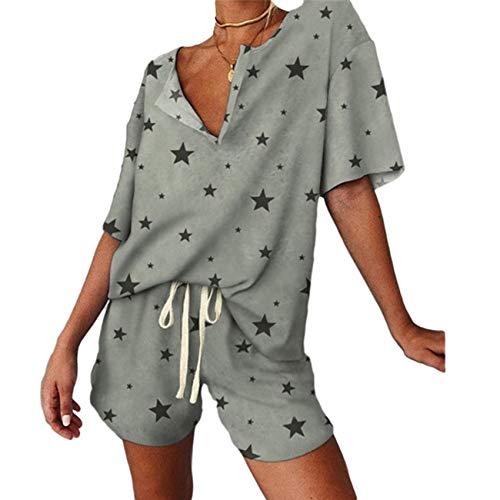 WAEKQIANG Conjunto De Pijamas Estampados para Mujer Conjunto De 2 Piezas De Verano Conjunto De Camiseta De Ropa Deportiva para Mujer Ropa Casual para Mujer Top con Cuello En V