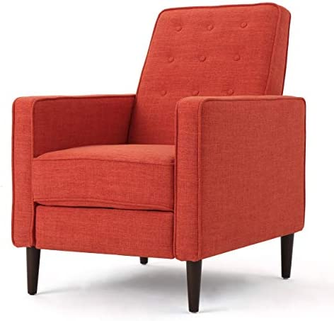 Best Christopher Knight Home Mervynn Mid-Century Modern Fabric Recliner, Muted Orange