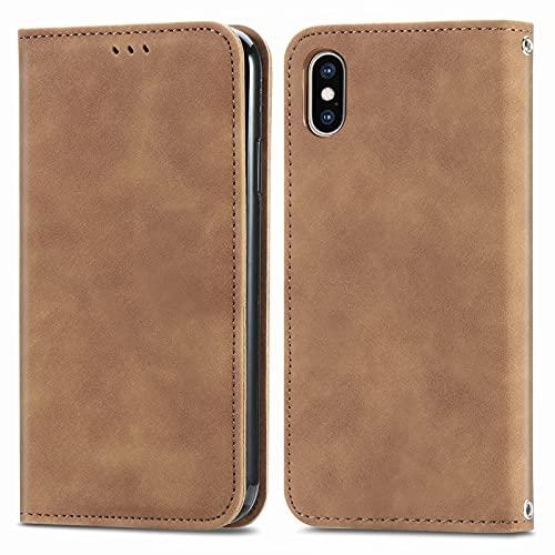 BAOFA Teléfono Flip Funda Shell Flip Wallet Funda para iPhone XS MAX (6.5'), Cubierta de Cuero de Cierre magnético con Portada de Soporte de Tarjeta Cubierta de protección Funda Protectora