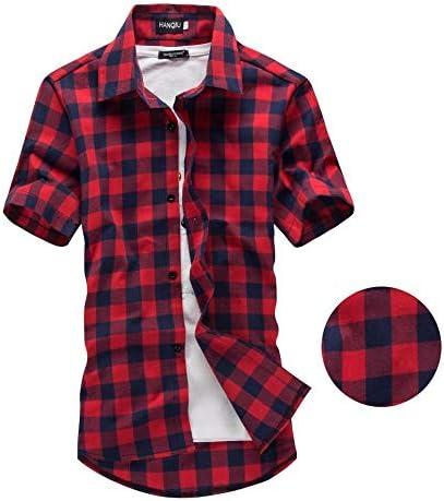 OKJI - Camisa de Cuadros Rojos y Negros para Hombre, de Manga ...