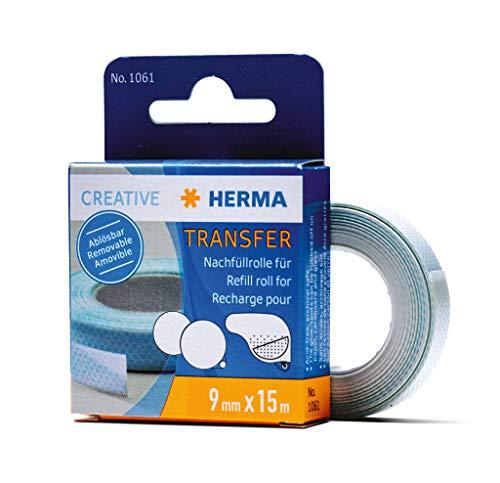 HERMA 1061 Nachfüllrolle für Kleberoller, ablösbar (15 m x 9 mm) selbstklebende Nachfüllkassette mit doppelseitigen Klebepunkten für Fotos, Basteln, Schule und Büro
