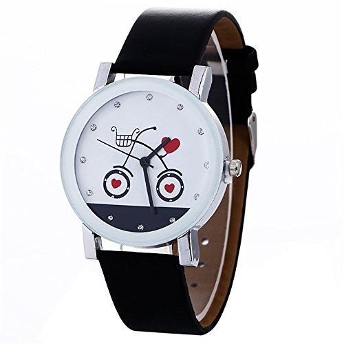 Doingshop Paar Uhren Einfache Mode Niedlich Fahrrad Katze Herz-Förmige Muster Schwarz Weiße Leder Quarz Damenuhr
