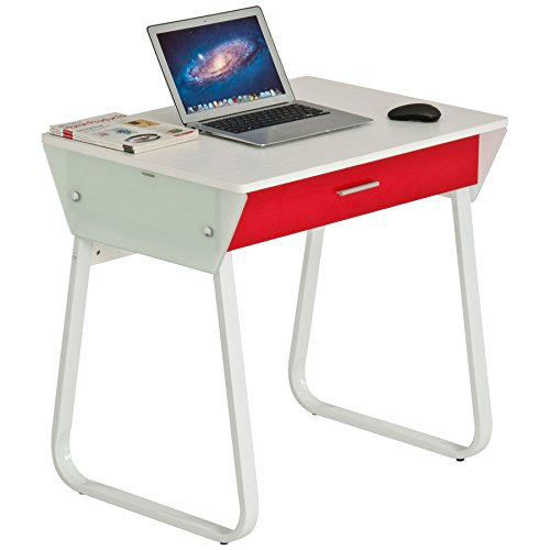 Piranha kompakter Computer Schreibtisch in weißer Holzoptik mit roter Schublade Bureau PC 41s