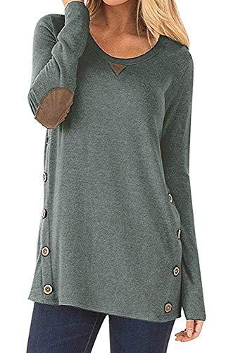 CARINACOCO Donna Camicia Casuale Camicetta Bottone Maglietta Manica Lunga Eleganti Tunica T-Shirt Loose Fit False Suede Maglia Tops Verde S