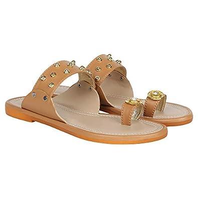 Footshez Women's Golden Flat Sandal | Women's Footwear