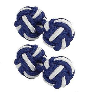 Blanc soie Bleu marine & Boutons de manchette de noeud