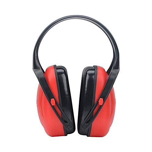 Noise-Cancelling Headphones, Foldable Hearing Protection Ear Muffs Best Hearing Protectors &ndash Adjustable Headband Ear Defenders for Children and Adults (Color : Red)