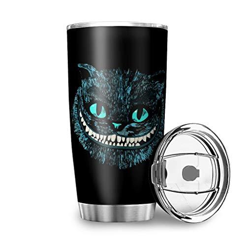 Zhenxinganghu Cat Cheshire Easy-Clean Insulated Superior - Teiera da viaggio in acciaio INOX, Acciaio inox 18/8., bianco, 20oz