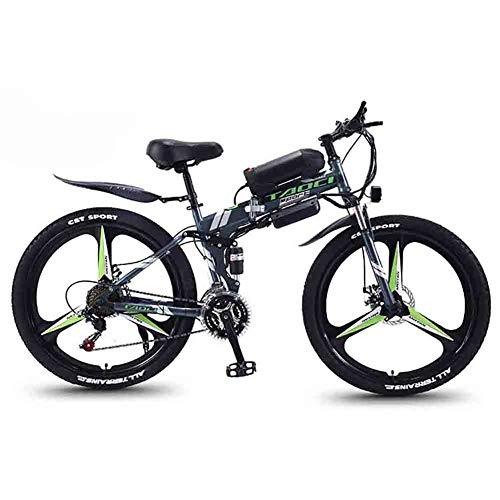 """Hyuhome Mountain Bike Elettrico per Adulti, Pieghevole MTB Ebikes Uomo delle Signore delle Donne, 360W 36V 8/10 / 13Ah all Terrain 26"""" Mountain Bike/Commute Ebike,Gray One Wheel,13AH"""