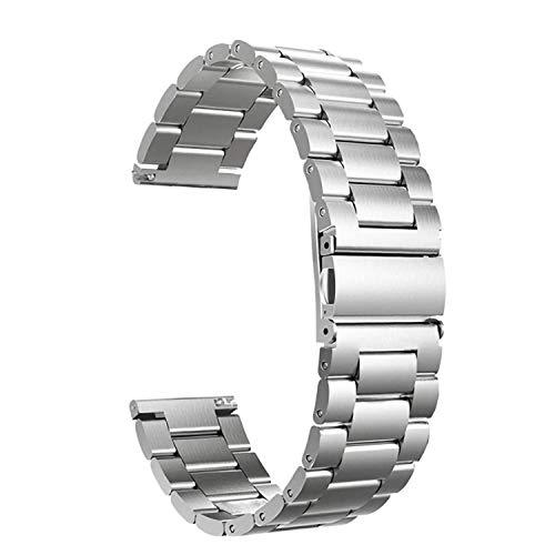 Fei Mei Correa de Reloj de Acero Inoxidable, Correa de Metal de Repuesto para Hombres, Mujeres, Correa de Reloj de liberación rápida Ajustable, 20 mm (Color : Plata, Tamaño : 20MM)