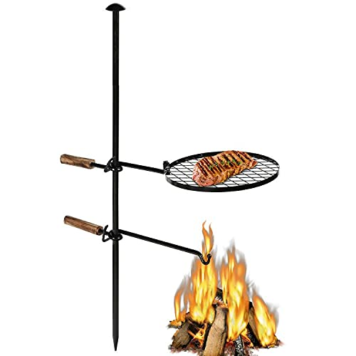 OKL Adjustable Swivel Campfire Grill Grate, Portable Heavy Duty Steel Go Open Fire Cooking Camping Grill Barbecue with Water Bottle Support Frame for Griddle Plate BBQ (18 Inch)