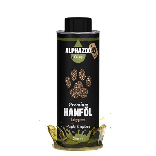 alphazoo Premium Hanföl für Hunde & Katzen 250 ml, kaltgepresstes Hanfsamenöl Barfen, Immunsystem & Fellpflege, Futteröl reich an Omega 3 & Omega 6 Fettsäuren, recyclebare Weißblechdose ohne BPA
